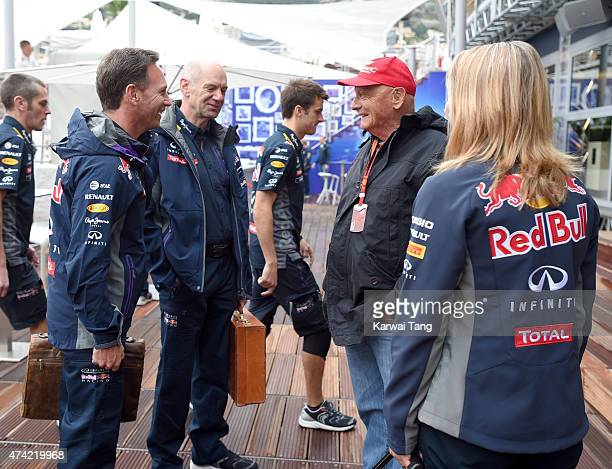 Christian Horner and Niki Lauda attend the Infiniti Red Bull Racing Energy Station at Monte Carlo on May 21 2015 in Monaco Monaco
