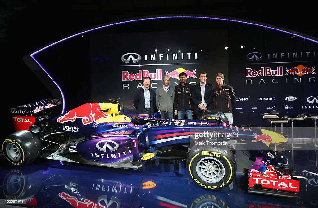 Christian Horner, Team Principle, Adrian Newey, Chief Technical Officer, Mark Webber of Australia, Simon Sproule, Infiniti Corperate Vice-President Global Marketing and Sebastian Vettel of Germany pose along side the new car during the Infiniti Red Bull Racing RB9 launch on February 3, 2013 in Milton Keynes, England.