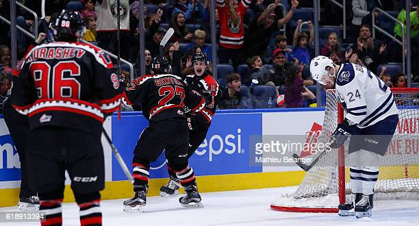 Christian Huntley of the Quebec Remparts celebrates his goal against the Rimouski Oceanic during their QMJHL hockey game at the Centre Videotron on...