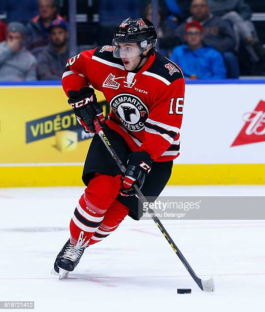 Christian Huntley of the Quebec Remparts skates against the Baie Comeau Drakkar during their QMJHL hockey game at the Centre Videotron on October 14...