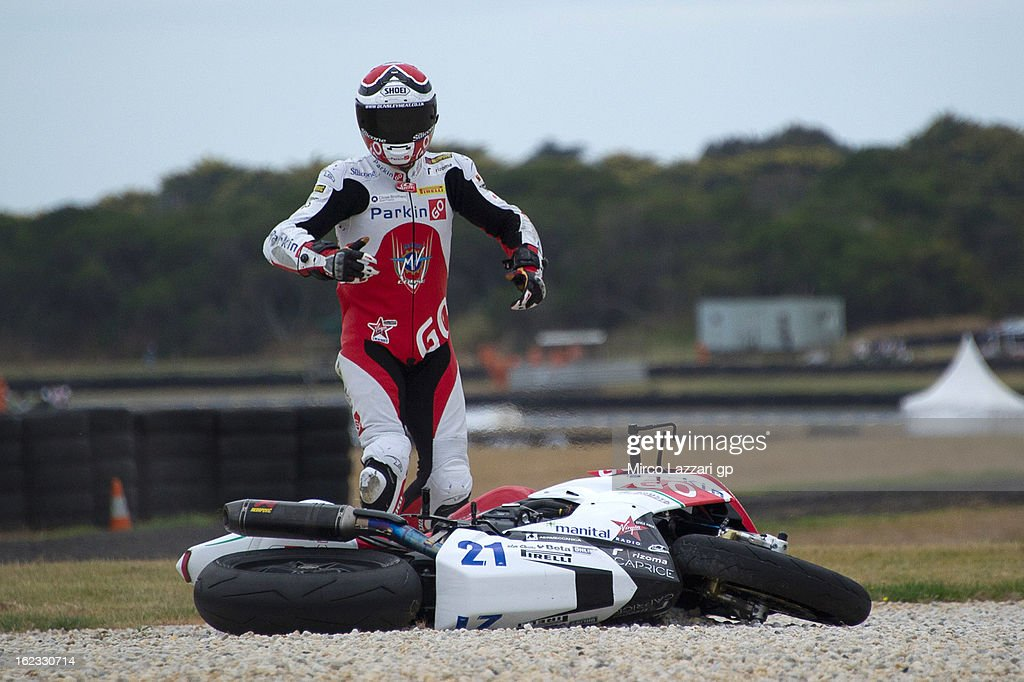 Christian Iddon of Great Britain and ParkinGO MV Augusta Corse crashed out during the free practice of Supersport FIM World Championaship at Phillip Island Grand Prix Circuit on February 22, 2013 in Phillip Island, Australia.