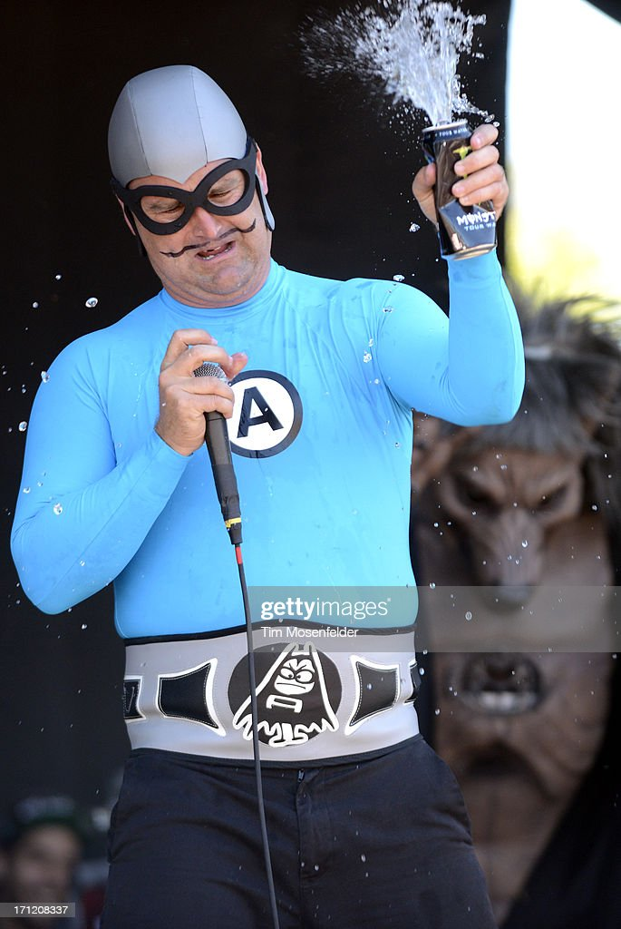 Christian Jacobs aka The MC Bat Commander of The Aquabats performs as part of the Vans Warped Tour at Shoreline Amphitheatre on June 22, 2013 in Mountain View, California.