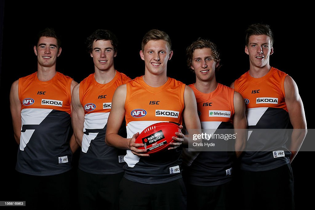 Christian Jaksch, Lachie Plowman, Lachie Whitfield, Jonathan O'Rouke and Aidan Corr pose with GWS after being drafted during the 2012 AFL Draft at the Gold Coast Exhibition Centre on November 22, 2012 on the Gold Coast, Australia.