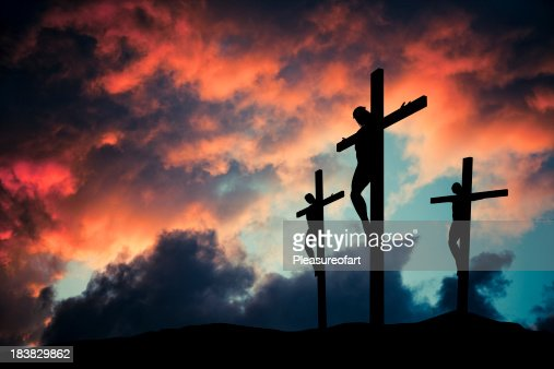 Christian Jesus Christ son of god crusified on wooden cross