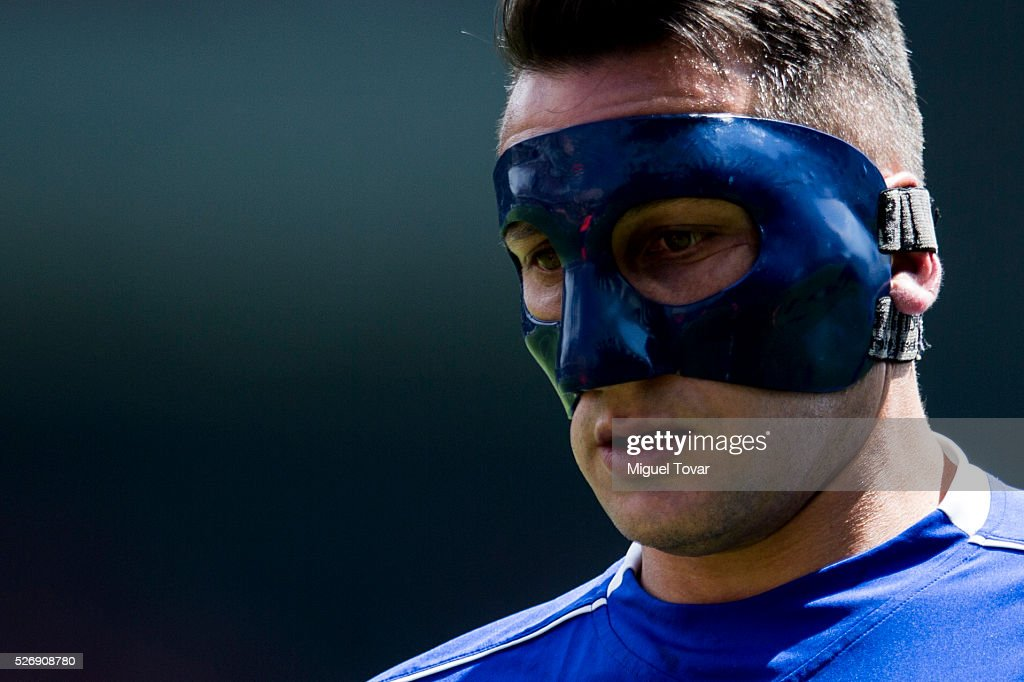<a gi-track='captionPersonalityLinkClicked' href=/galleries/search?phrase=Christian+Jimenez&family=editorial&specificpeople=2215391 ng-click='$event.stopPropagation()'>Christian Jimenez</a> of Cruz Azul looks on during the 16th round match between Toluca and Cruz Azul as part of the Clausura 2016 Liga MX at Nemesio Diez Stadium on May 01, 2016 in Toluca, Mexico.