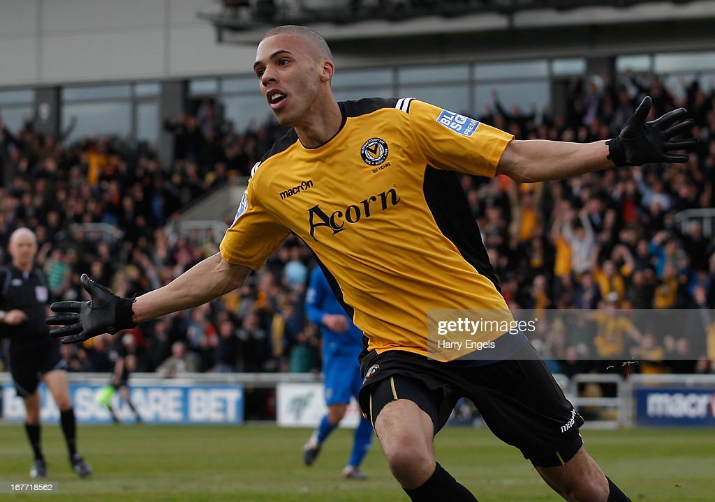 Christian Jolley of Newport County celebrates scoring his side's first goal during the Blue Square Bet Premier Conference Play-off second leg match between Newport County A.F.C. and Grimsby Town at Rodney Parade on April 28, 2013 in Newport, Wales.