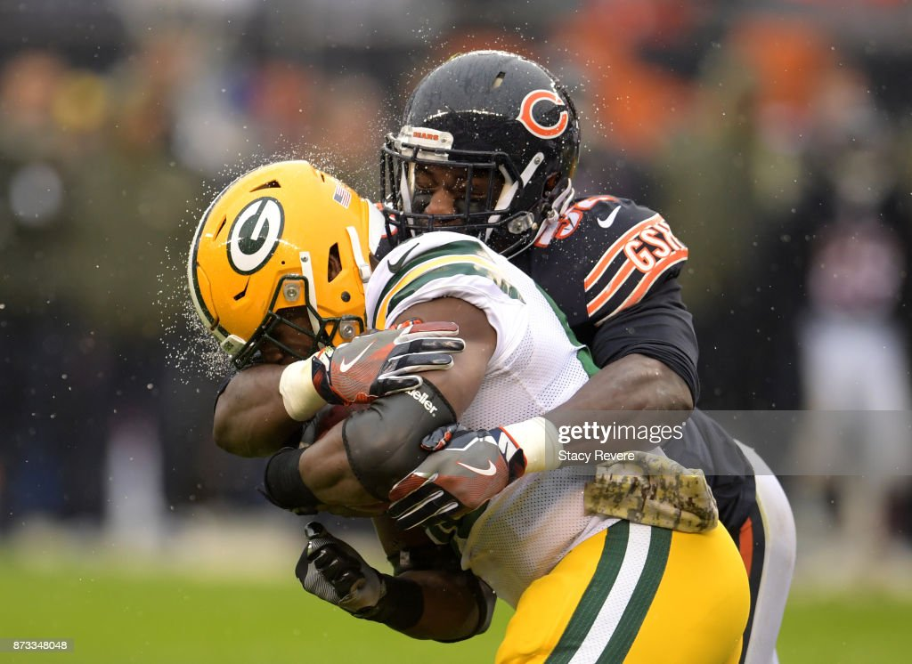 Christian Jones #52 of the Chicago Bears hits Ty Montgomery #88 of the Green Bay Packers in the second quarter at Soldier Field on November 12, 2017 in Chicago, Illinois.