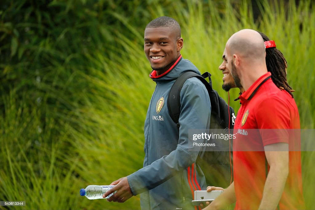 Christian Kabasele defender of Belgium before a closed training session of the National Soccer Team of Belgium as part of the preparation prior to the UEFA EURO 2016 quarter final match between Wales and Belgium at the Chateau de Haillan training center on June 29, 2016 in Bordeaux, France ,