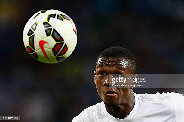 Christian Kabasele of Genk runs after the ball during the Jupiler League match between KAA Gent and KRC Genk held at the Ghelamco Arena on July 31...