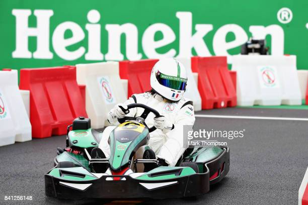 Christian Karembeu competes in a karting event during previews for the Formula One Grand Prix of Italy at Autodromo di Monza on August 31 2017 in...
