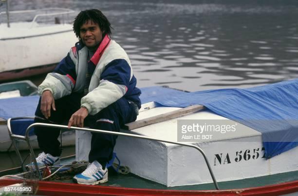Christian Karembeu joueur du FC Nantes en fevrier 1993 a Nantes France