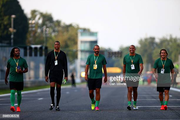Christian Karembeu of France Dida of Brazil Robert Pires of France David Trezeguet of France and Michel Salgado of Spain walk to the pitch before the...