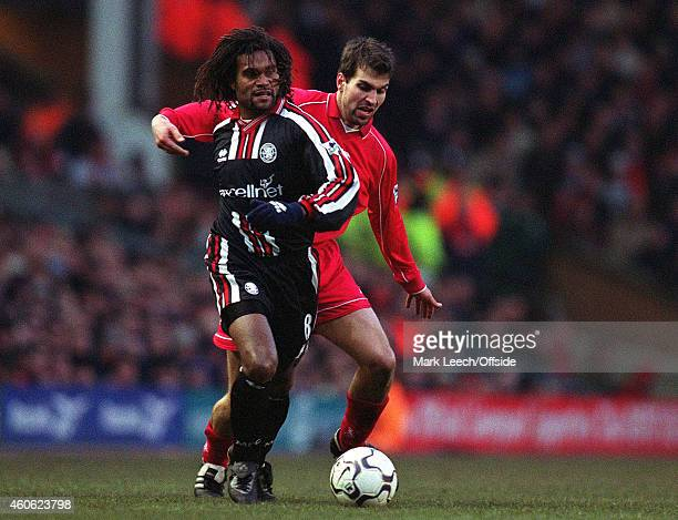 Christian Karembeu shields the ball from Markus Babbel during the Premiership match between Liverpool and Middlesbrough at Anfield on January 20 2001...