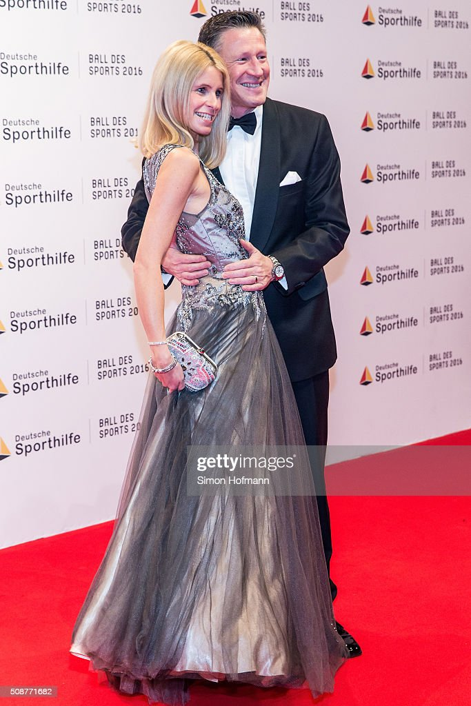 Christian Keller and his wife Annika attend German Sports Gala 'Ball des Sports 2016' on February 6, 2016 in Wiesbaden, Germany.