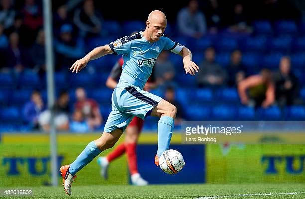 Christian Keller of Randers FC controls the ball during the Danish Alka Superliga match between Randers FC and FC Nordsjalland at AutoC Park on July...
