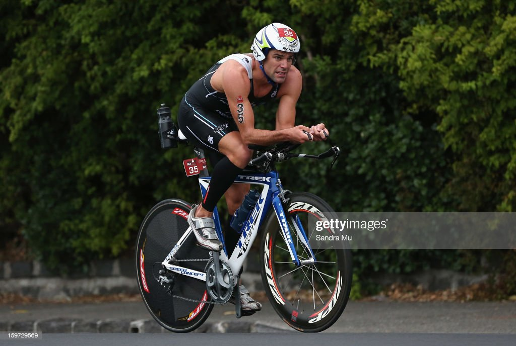 Christian Kemp of Australia cycles during the Ironman 70.3 Auckland triathlon on January 20, 2013 in Auckland, New Zealand.