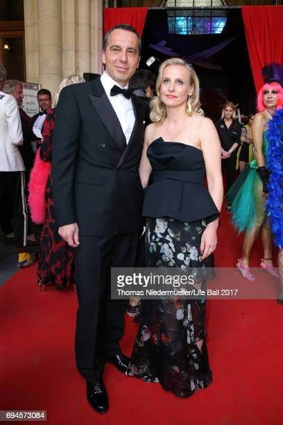 Christian Kern and Eveline SteinbergerKern attend the Life Ball 2017 Gala Dinner at City Hall on June 10 2017 in Vienna Austria