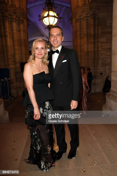 Christian Kern Austrian cancellor and his wife Karin Wessely during the Life Ball 2017 after party at City Hall on June 10 2017 in Vienna Austria