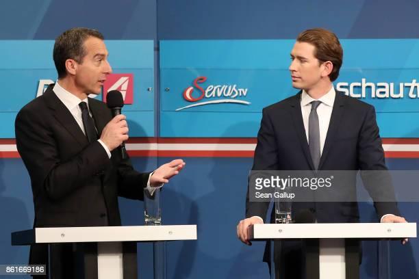 Christian Kern Austrian Chancellor and leader of the Austrian Social Democrats and Sebastian Kurz Austrian Foreign Minister and leader of the...