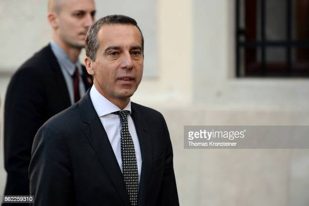 Christian Kern Austrian Chancellor and leader of the Austrian Social Democrats arrives for the decommissioning of the outgoing Austrian government...
