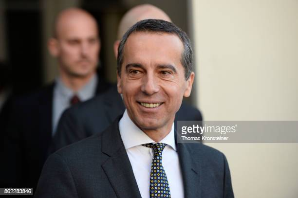 Christian Kern Austrian Chancellor and leader of the Austrian Social Democrats leaves after the decommissioning of the outgoing Austrian government...