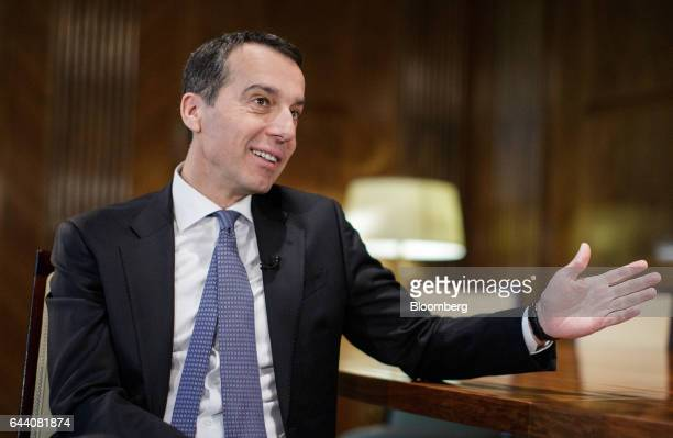 Christian Kern Austria's chancellor gestures during a Bloomberg Television interview in Vienna Austria on Thursday Feb 23 2017 The UKs withdrawal...