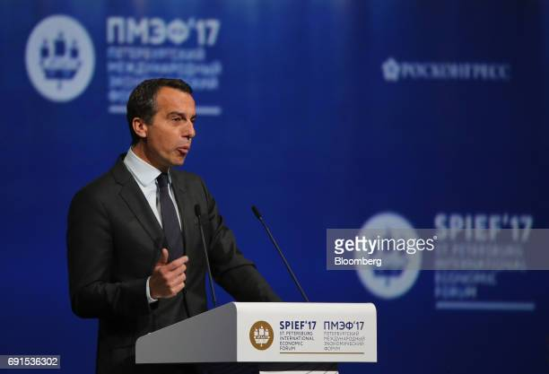Christian Kern Austria's chancellor speaks at the plenary session during the St Petersburg International Economic Forum at the Expoforum in Saint...