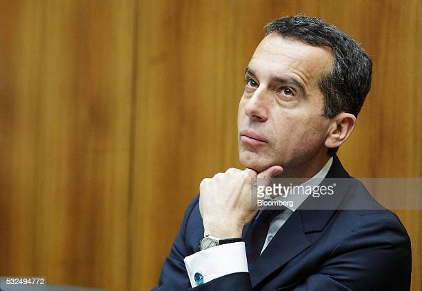 Christian Kern Austria's newly appointed chancellor looks on during a parliament session in Vienna Austria on Thursday May 19 2016 Kern said he'll...