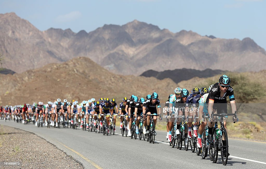 Christian Knees of Germnay and SKY Procycling leads the peloton through the Oman countryside during stage four of the 2013 Tour of Oman from Al Saltiyah in Samail to Jabal Al Akhdhar (Green Mountain) on February 14, 2013 in Jabal Al Akhdhar, Oman.