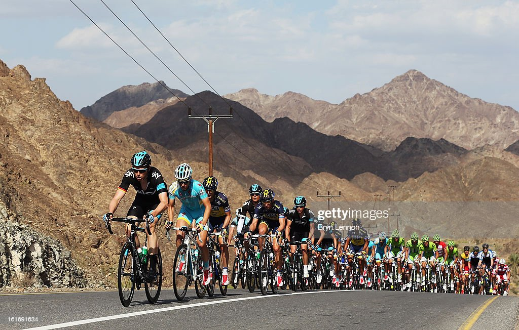 <a gi-track='captionPersonalityLinkClicked' href=/galleries/search?phrase=Christian+Knees&family=editorial&specificpeople=541153 ng-click='$event.stopPropagation()'>Christian Knees</a> of Germnay and SKY Procycling leads the peloton through the Oman countryside during stage four of the 2013 Tour of Oman from Al Saltiyah in Samail to Jabal Al Akhdhar (Green Mountain) on February 14, 2013 in Jabal Al Akhdhar, Oman.