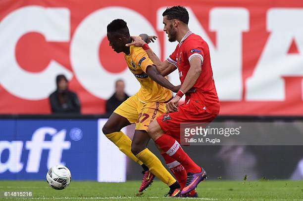 Christian Kouame of Cittadella and Salvatore Monaco of Perugia compete for the ball during the Serie B match between AC Perugia and AS Cittadella at...