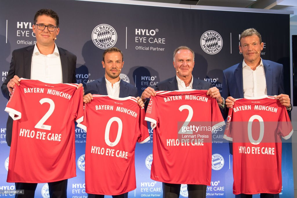 Christian Krensel (L-R), Global Director Marketing & Sales of Ursapharm, Dominik Holzer, CEO of Ursapharm, Karl-Heinz Rummenigge, CEO of FC Bayern Muenchen AG and Andreas Jung, Executive Board Member of FC Bayern Muenchen, pose for the photographers during the presentation of the new partnership of FC Bayern Muenchen and HYLO Eye Care on August 16, 2017 in Munich, Germany.