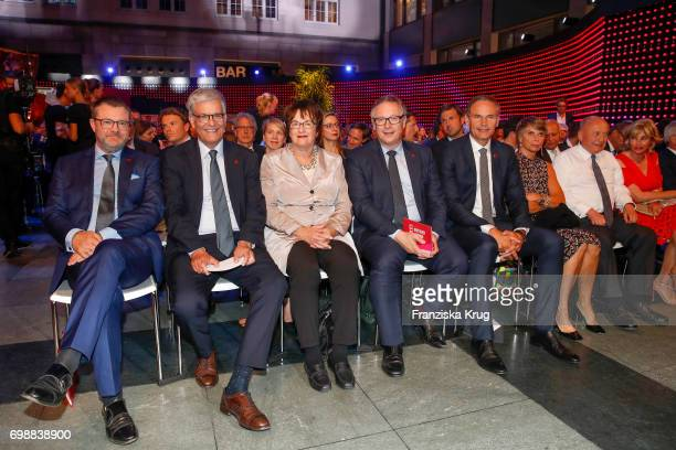 Christian Krug Thomas Bellut Brigitte Zypries Georg Fahrenschon and Oliver Blume attend the Deutscher Gruenderpreis on June 20 2017 in Berlin Germany