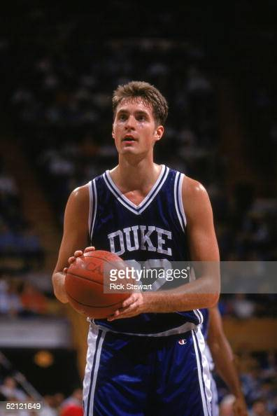 Christian Laettner of the Duke University Blue Devils prepares to shoot a free throw during a NCAA game against Canisius College in December 7 1991