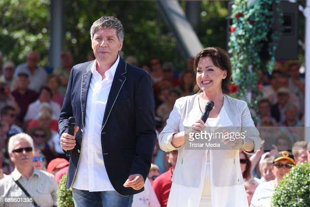 Christian Lais and Ute Freudenberg perform in the ARD Live TV Show 'Immer wieder Sonntags' in Rust at the EuropaPark on May 28 2017 in Rust Germany