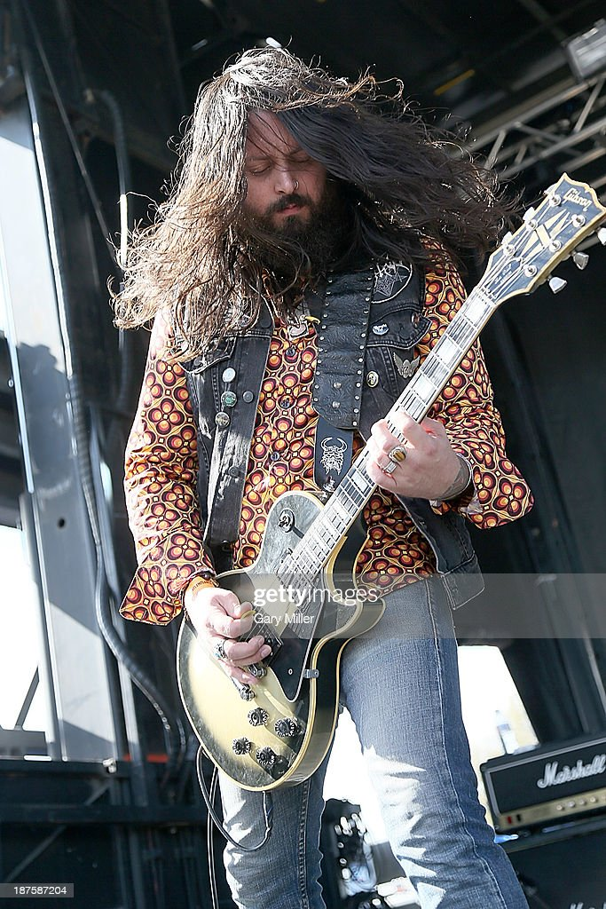 Christian Larson of Venomous Maximus performs during Fun Fun Fun Fest at Auditorium Shores on November 9, 2013 in Austin, Texas.