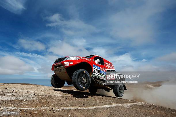 Christian Lavielle and Pascal Maimon of France driving for Overdrive Toyota Hilux compete in the Atacama Desert during day 10 of the Dakar Rallly...