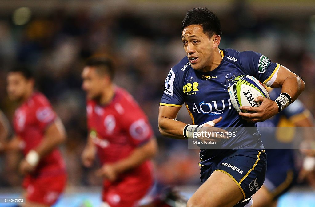 Christian Lealiifano of the Brumbies runs the ball during the round 15 Super Rugby match between the Brumbies and the Reds at GIO Stadium on July 1, 2016 in Canberra, Australia.