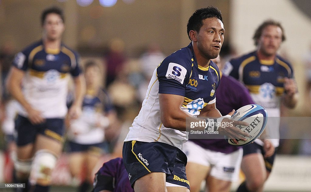 <a gi-track='captionPersonalityLinkClicked' href=/galleries/search?phrase=Christian+Lealiifano&family=editorial&specificpeople=603579 ng-click='$event.stopPropagation()'>Christian Lealiifano</a> of the Brumbies runs the ball during the Super Rugby trial match between the Brumbies and the ACT XV at Viking Park on February 8, 2013 in Canberra, Australia.