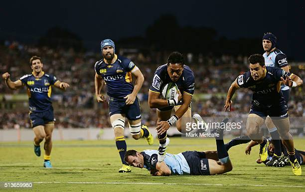 Christian Lealiifano of the Brumbies scores a try during the round two NRL match between the Brumbies and the Waratahs at GIO Stadium on March 4 2016...