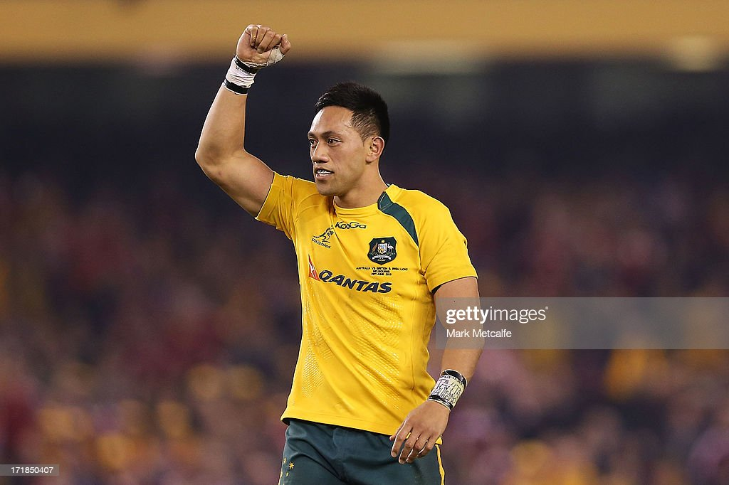 Christian Leali'ifano of the Wallabies celebrates victory at the end of game two of the International Test Series between the Australian Wallabies...