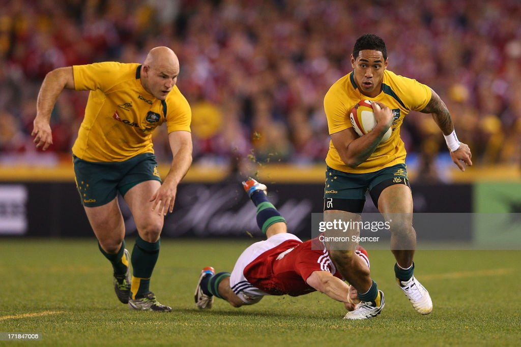 Christian Lealiifano of the Wallabies makes a break during game two of the International Test Series between the Australian Wallabies and the British...