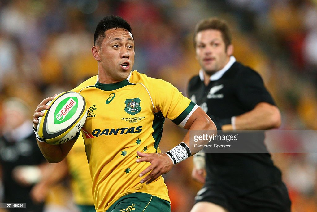 Christian Leali'ifano of the Wallabies makes a break during The Bledisloe Cup match between the Australian Wallabies and the New Zealand All Blacks...