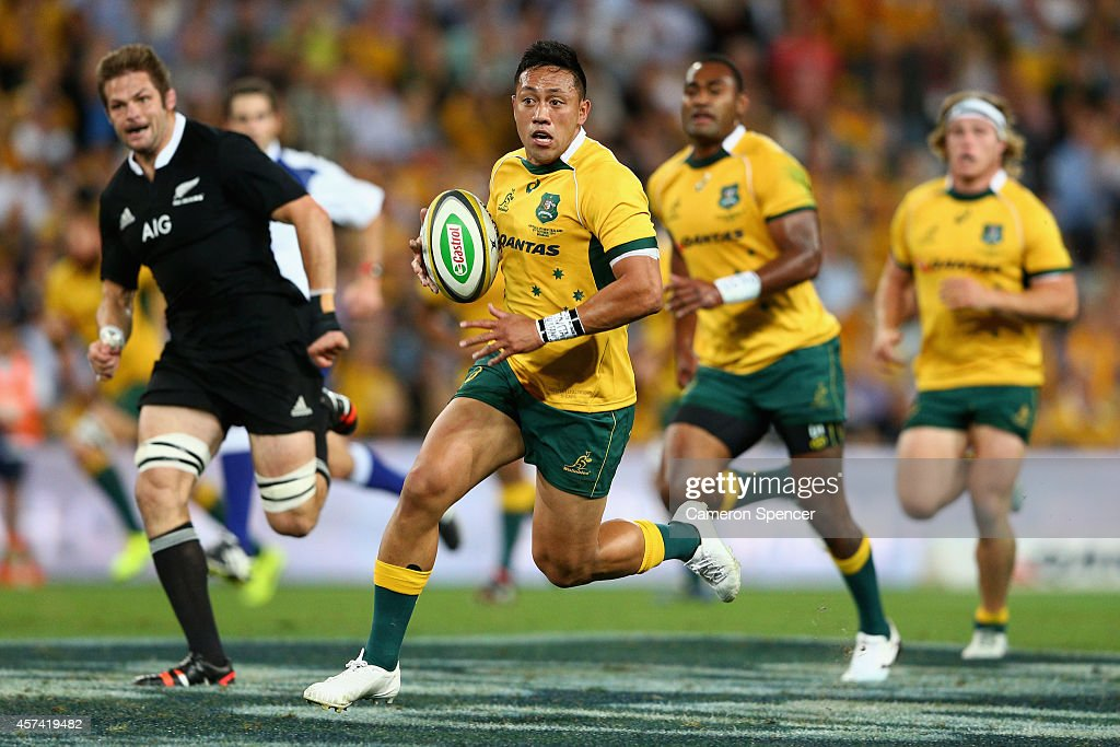 Christian Leali'ifano of the Wallabies makes a break during The Rugby Championship match between the Australian Wallabies and the New Zealand All...