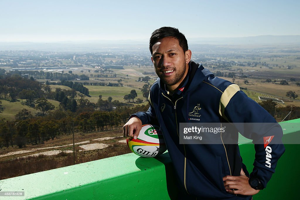 Christian Leali'ifano of the Wallabies poses during an Australian Wallabies media session at Mount Panorama on August 6 2014 in Bathurst Australia