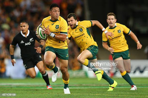 Christian Leali'ifano of the Wallabies runs the ball during The Bledisloe Cup match between the Australian Wallabies and the New Zealand All Blacks...