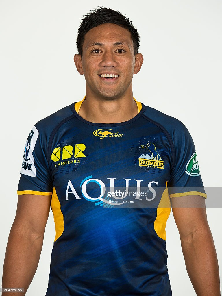 Christian Lealiifano poses during the ACT Brumbies 2016 Super Rugby season headshots at Brumbies HQ on January 13 2016 in Canberra Australia