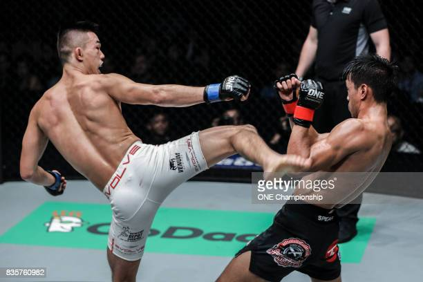 Christian Lee uses his striking to set up a submission finish of Keanu Subba during ONE Championship Quest For Greatness at the Stadium Negara on...