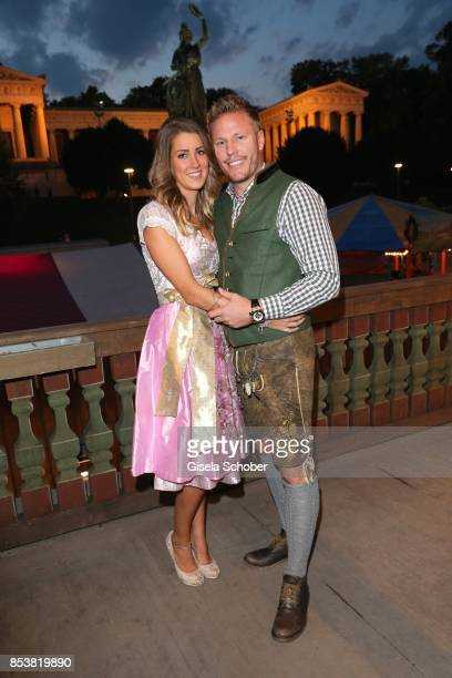 Christian Lell and his girlfriend Stefanie Riegler during the Oktoberfest at Kaeferzelt at Theresienwiese on September 25 2017 in Munich Germany