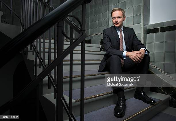 Christian Lindner chairman of German Free Democratic Party poses during a portrait session on April 22 2014 in Berlin Germany